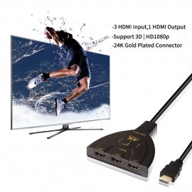 3 port HDMI splitter switch, 3 inputs + 1 output 4K 2K 1080P 3D / FREE Shipping!
