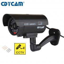 Falošná bezpečnostná kamera, červené LED svetielko, imitácia kábla (2xAA)