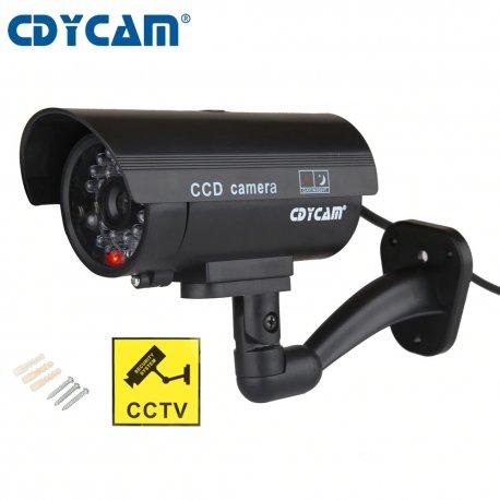 Falešná bezpečnostní kamera, červené LED světýlko, imitace kabelu (2XAA)