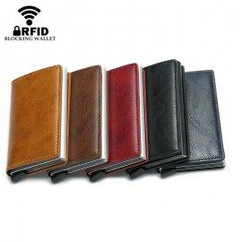 Pánská mini peněženka s RFID ochranou a vysouvací přihrádkou na 7 platebek, kov-kůže /Poštovné ZDARMA!