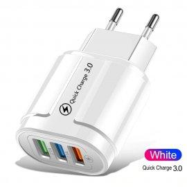 QC3.0 USB Rýchlonabíjačka 3xUSB 5V 2.1A EÚ AC univerzálny pre mobily a ďalšie zariadenia / Poštovné ZADARMO!