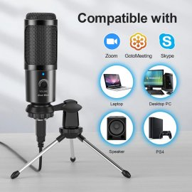 USB Microphone with Stand, Adjustable Volume, Noise Reduction for Skype Chat Games Youtube / FREE Shipping!
