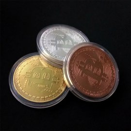 Mince 1 BTC Bitcoin, kov, 40x1.5mm /Poštovné ZDARMA!