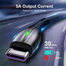 QC3.0 5A USB-C Micro USB rychlonabíjecí kabel s LED, rychlonabíjecí / data pro Huawei, Xiaomi /Poštovné ZDARMA!