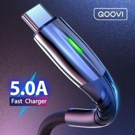 QC 3.0 5A Rychlonabíjecí kabel s LED USB-C Micro USB, pletený, univerzální /Poštovné ZDARMA!