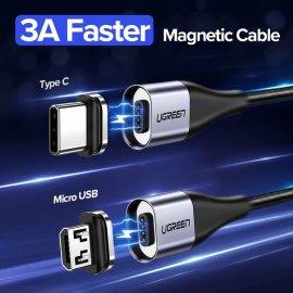 Magnetický nabíjací kábel UGREEN QC 3.0 USB Typ C aj Micro USB, Dáta, Nylon, LED indikácia / Poštovné ZADARMO!