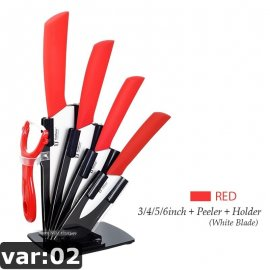 "Ceramic Knives Set of Quality Ceramic Knives 3"" 4"" 5"" 6"" + Scraper + Stand / FREE Shipping!"