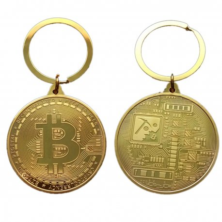 BTC Bitcoin keyring, metal, 38mm / FREE Shipping!