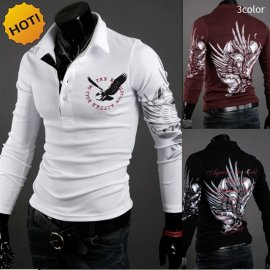 Men's Casual Eagle T-shirt Long Sleeve POLO T-Shirt (more colors and sizes)