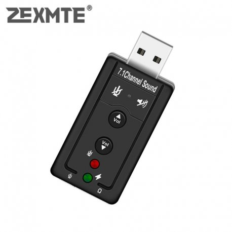 Sound card with 3D 5.1 microphone for PC, USB