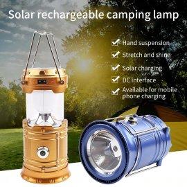 Kempingová solární lucerna / svítilna, LED, skládací, USB nabíjení /Poštovné ZDARMA!