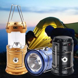 Camping lantern / lamp, 5 LEDs, mini, folding