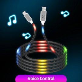 Nabíjecí LED kabel reagující na zvuk Micro USB /USB-C / Apple, univerzální /Poštovné ZDARMA!