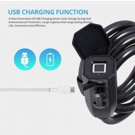 USB zámek na otisk prstu, 0,5s, IP65 voděodolný, uchycení na kolo, pro až 10 otisků /Poštovné ZDARMA!