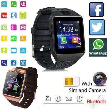"""Chytré hodinky s telefonem DZ09 1.56"""" MTK6260A, BT, KAMERA, SIM, MicroSD, přehrávač, SMS, alarm, seznam, antilost, pedometr"""
