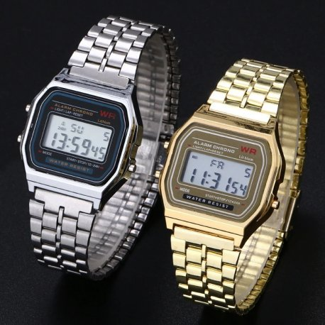Hodinky Super Quality Stainless Steel Digital Watch Alarm Stopwatch