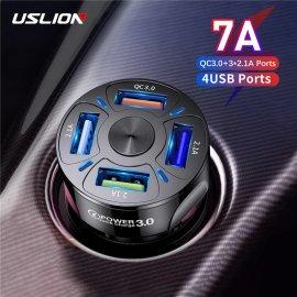 USLION 4 USB nabíjačka do auta, QC 3.0, LED, 4x USB 48W 7A / Poštovné ZADARMO!