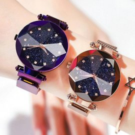 Luxusné dámske hodinky s motívom hviezdneho neba a diamanty, quartz, magnetický remienok, nerez oceľ / Poštovné ZADARMO!