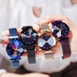 Luxusní dámské hodinky s motivem hvězdného nebe a diamanty, quartz, magnetický řemínek, nerez ocel /Poštovné ZDARMA!