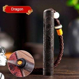 Nádherně zdobený elektrický zapalovač z santalového dřeva, větruodolný, USB nabíjení /Poštovné ZDARMA!