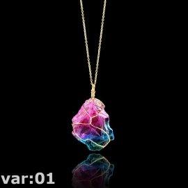 Náhrdelník Quartz Fluorit krystal, přívěsek