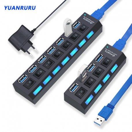 USB HUB, LED vypínače, USB 2.0 3.0 4 port 7 port /Poštovné ZDARMA!