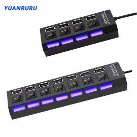 USB 2.0 HUB 4/7 Port, vypínače, LED, rychlost až 480MB/s /Poštovné ZDARMA!