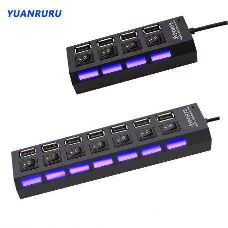 USB 2.0 HUB 4/7 Port, vypínače, LED, rýchlosť až 480Mb / s / Poštovné ZADARMO!