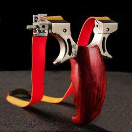 Luxusní prak s titanovým zaměřovačem, nerez ocel - dřevo /Poštovné ZDARMA!