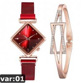 Luxusní dámské hodinky s hranatým ciferníkem, quartz, magnet /Poštovné ZDARMA!