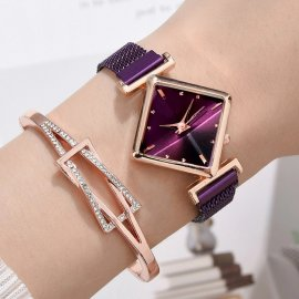Luxusné dámske hodinky s hranatým ciferníkom a náramkom, quartz, magnet / Poštovné ZADARMO!