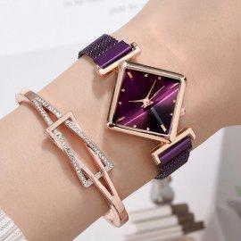 Luxusní dámské hodinky s hranatým ciferníkem a náramkem, quartz, magnet /Poštovné ZDARMA!