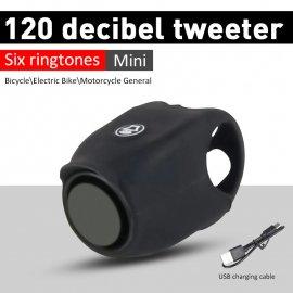 120dB Hlasný zvonček na bicykel, 6 modu, USB nabíjanie, IPX4 vodeodolný elektronický zvonček / Poštovné ZADARMO!