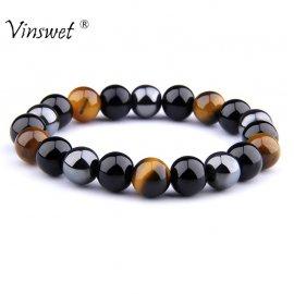 Náramek s přírodními kameny hematit, tygří oko, černý obsidián /Poštovné ZDARMA!