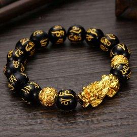 Feng Shui elastický náramek s korálky z obsidianu /Poštovné ZDARMA!