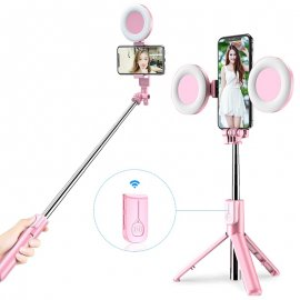 Bezdrôtová BT Selfie tyč pre Gopro / mobily / kamery, 2 x LED svetlo, statív, teleskopická 19-66cm / Poštovné ZADARMO!