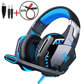 Kvalitné herné slúchadlá EACH G, stereo, Deep BASS, mikrofón, ovládanie, regulácia hlasitosti, USB + 2x3.5mm, LED