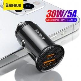 BASEUS 30W QC3.0 Rychlonabíječka do auta DUAL USB + USB-C Quick Charge 4.0 3.0 FCP SCP AFC PD /Poštovné ZDARMA!