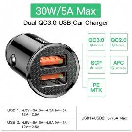 30W QC3.0 Rýchlonabíjačka do auta DUAL USB + USB-C Quick Charge 4.0 3.0 FCP SCP AFC PD / Poštovné ZADARMO!