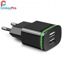 Nabíječka CinkeyPro LED svítící 2xUSB 5V 2A EU AC univerzální pro mobilní telefony, Android, HTC, tablety a další zařízení