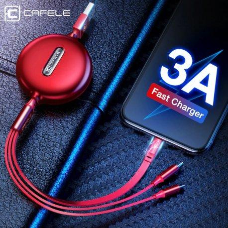 Navíjecí kabel CAFELE 3v1, 35-120cm /Poštovné ZDARMA!