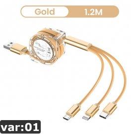 USB Navíjací kábel 3v1 1.2M pre iPhone Android USB-C univerzálna / Poštovné ZADARMO!