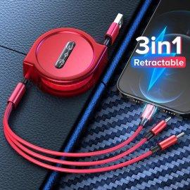 3v1 USB Navíjecí kabel 1.2M pro iPhone Android USB-C univerzální /Poštovné ZDARMA!