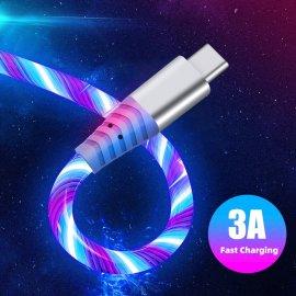Rýchlonabíjací LED svietiaci kábel Micro USB / USB-C, univerzálne / Poštovné ZADARMO!
