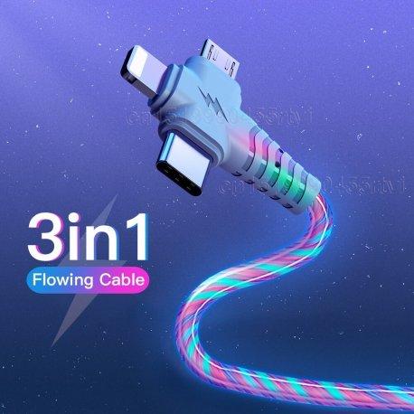 3v1 nabíjecí LED svítící kabel Micro USB / USB-C / Apple, univerzální /Poštovné ZDARMA!