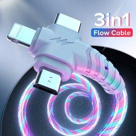 3v1 LED svietiaci kábel Micro USB / USB-C / Apple, univerzálne / Poštovné ZADARMO!