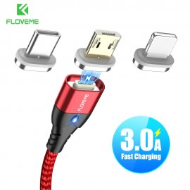FLOVEME Magnetický rychlonabíjecí kabel USB C/Micro USB/iPhone, 3A, Data, Nylon, LED indikace /Poštovné ZDARMA!