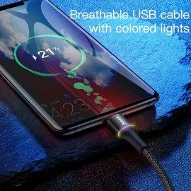 Rýchlonabíjací pletený LED USB C kábel Baseus, QC 3.0 3A, 0.25 - 3M / Poštovné ZADARMO!
